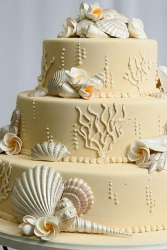 Edible Cake Decorations Beach : Beach Wedding Cake Ideas   Wedding Cake With Edible Sugar ...