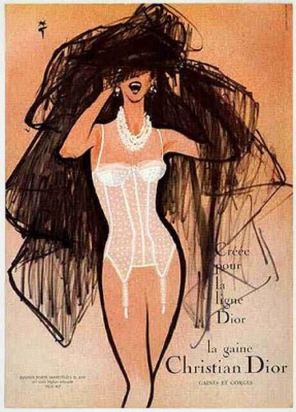 Vintage lingerie sketches