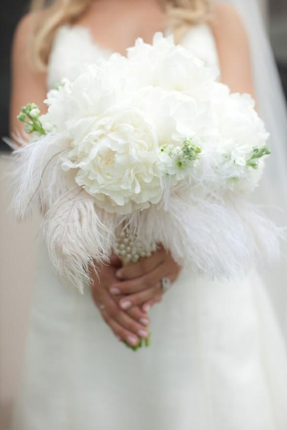 White Ostrich Feathers And Flowers Wedding Bouquet