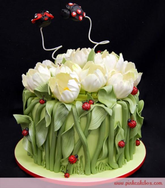 Cute Tulip And Ladybugs Wedding Cake   Valentine s Day ...