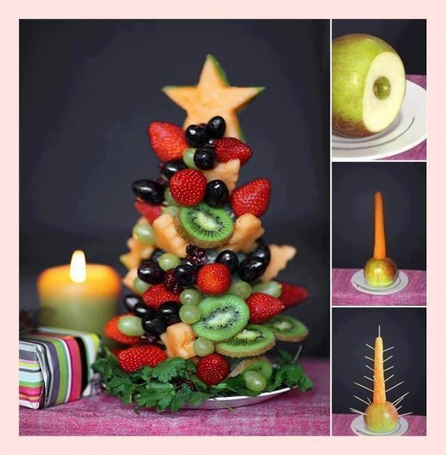 image of Ideas creativas de alimentos en Navidad Árbol de Navidad DIY ♥ Frutas con frutas frescas