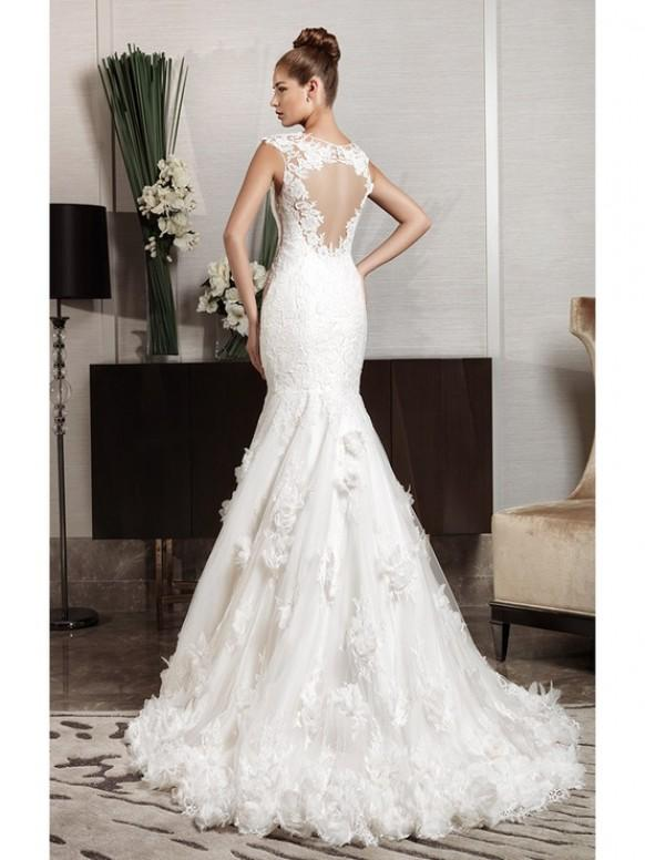 A Fishtail Wedding Dress : Cut out lace back fishtail wedding dress intuzuri bridal