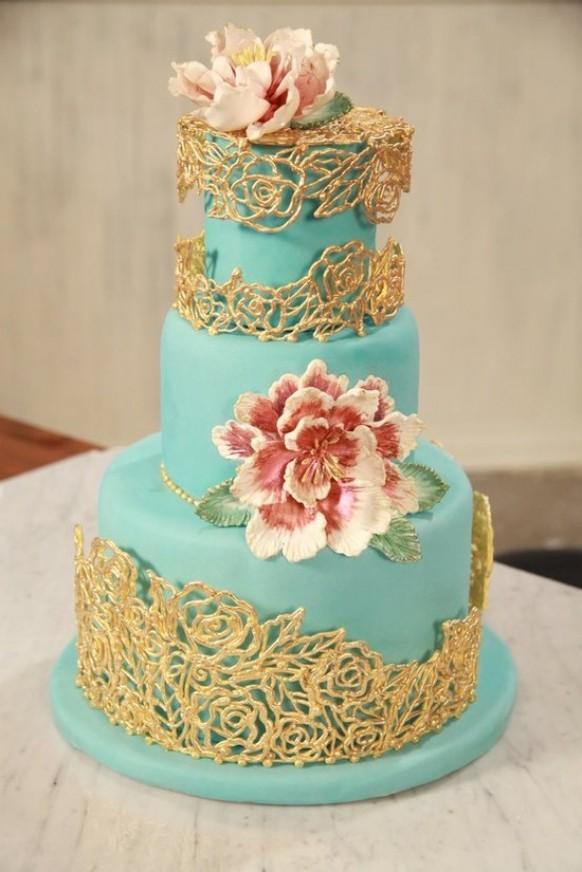 wedding photo - Turquoise and Gold Fondant Wedding Cake ♥ Best Wedding Cake Ideas
