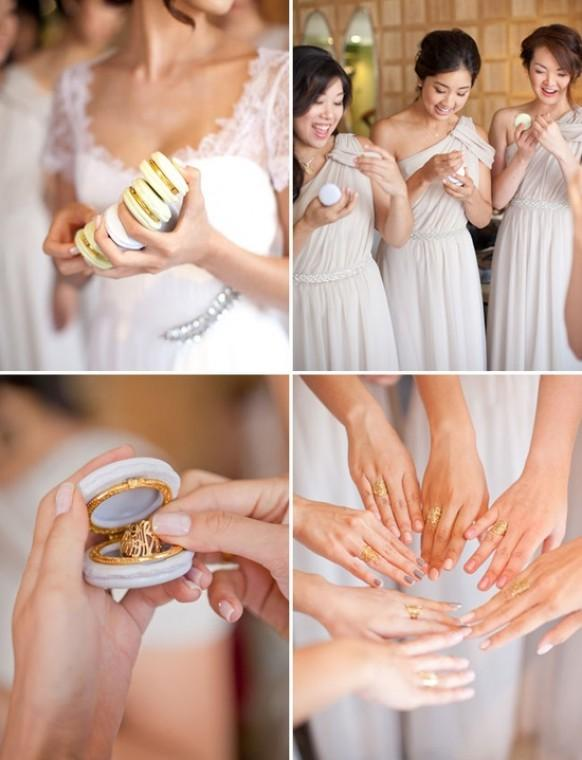French macaron limoge trinket box and monogrammed rings for Gifts for bridesmaids from bride