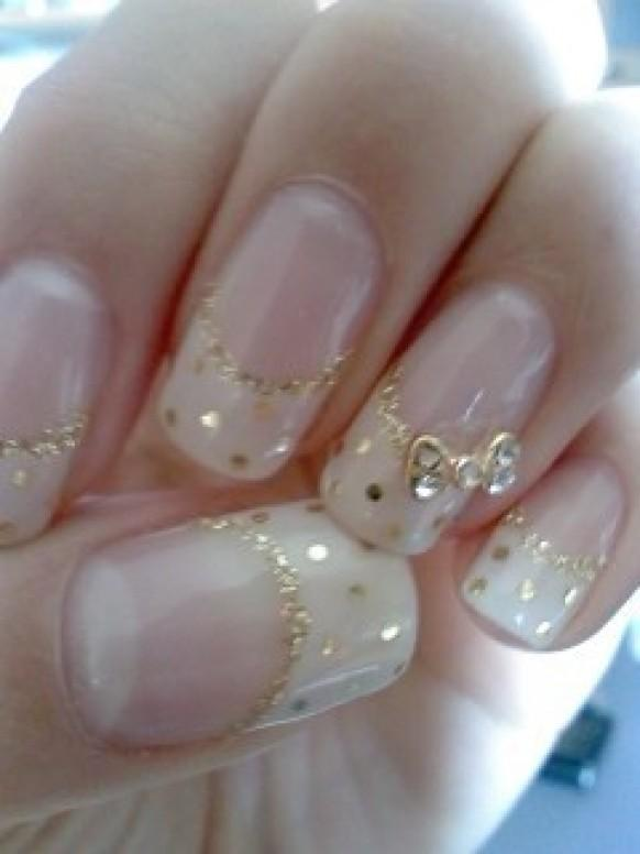 ... Wedding Nails With Gold Alloy Rhinestones Bow Tie #1920004 - Weddbook
