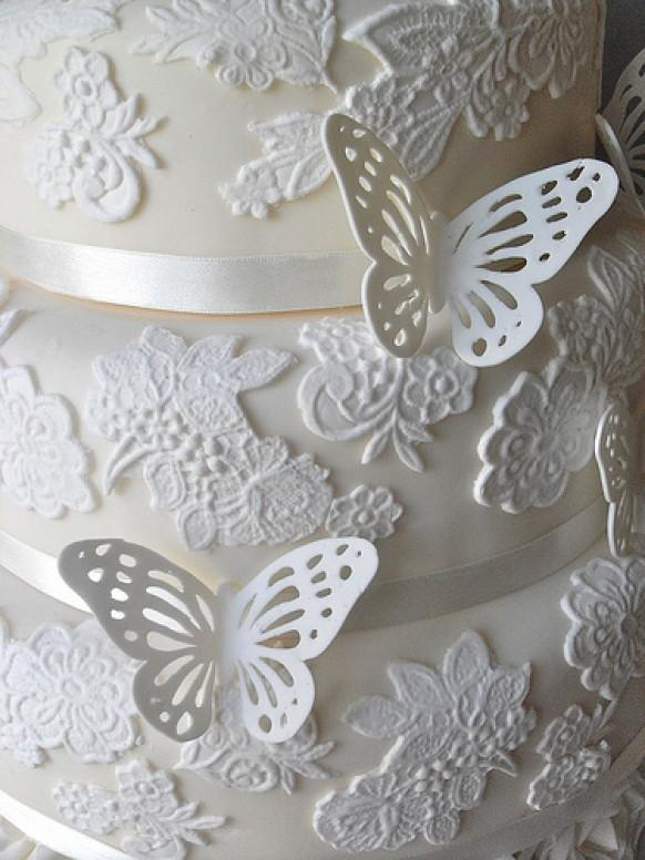 Butterfly wedding butterfly lace wedding cake detail for Butterfly wedding