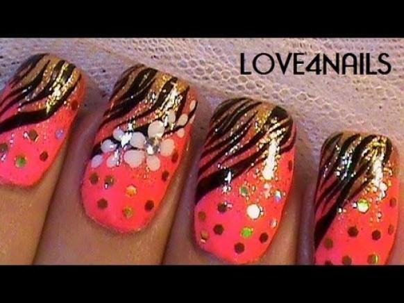 Nail Art Tutorial Flower Nails Black And