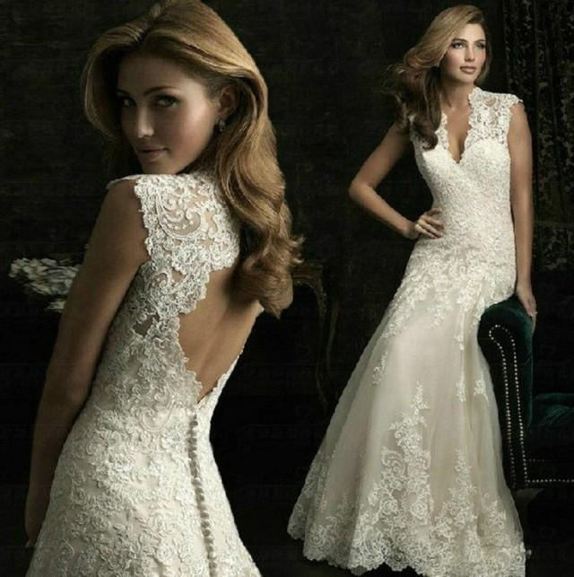 20 Most Perfect Bridal Gowns This Year: Narrow Neck White Floral Wedding Dress