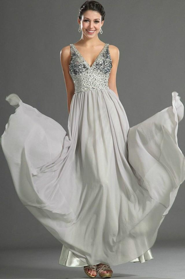 Gray bead chiffon custom evening dress prom gown wedding for Gray dresses for a wedding