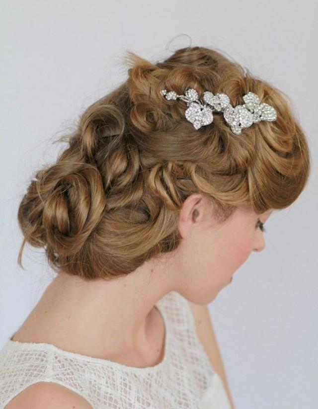 Wedding Vintage Inspired Bridal Hair Crystal Side Comb Brooch #2046377 ...