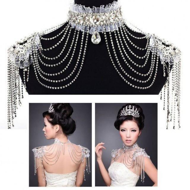 Bridal lace shoulder bra strap halter rhinestone necklace for Jewelry for halter wedding dress