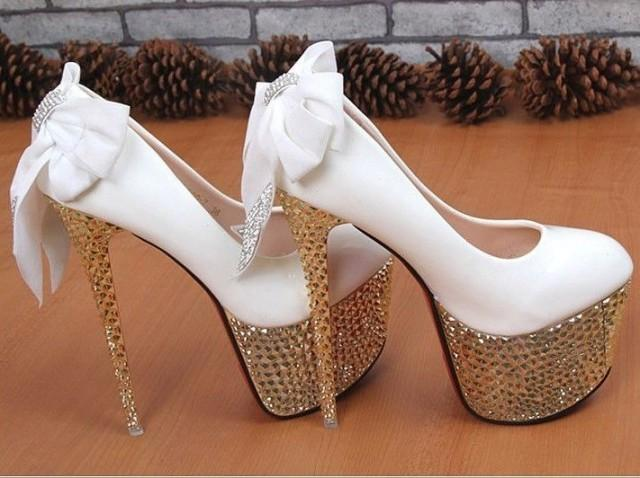White Super High Heels Bridal Wedding Shoes With Rhinestones Heels And Cute Back Bow Detail