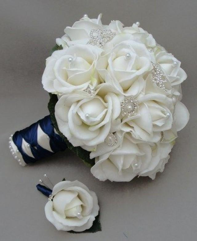 navy blue and white wedding flowers. Black Bedroom Furniture Sets. Home Design Ideas