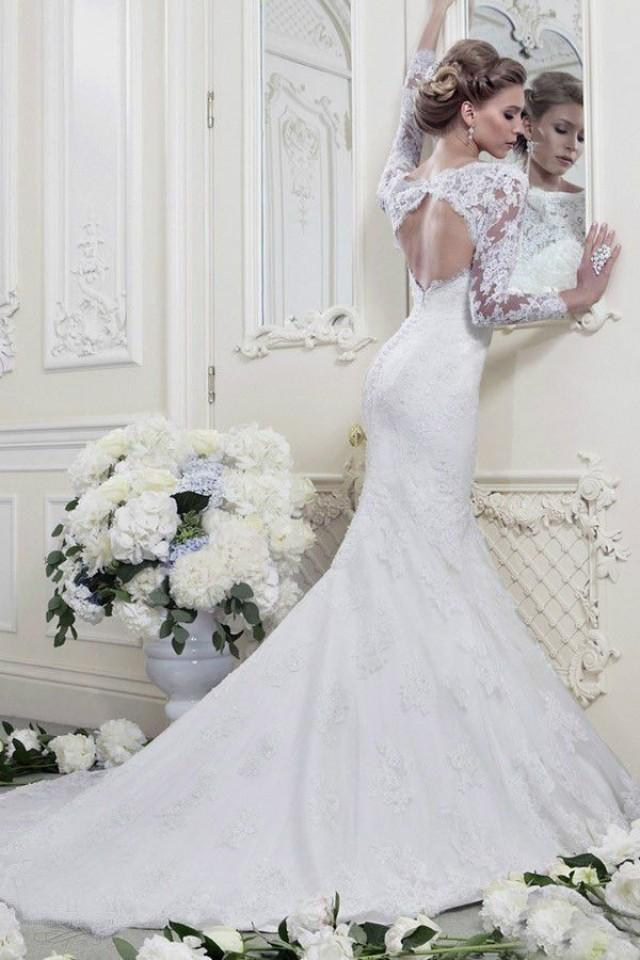 Fashion white ivory mermaid long sleeve lace wedding for Long sleeve white lace wedding dress