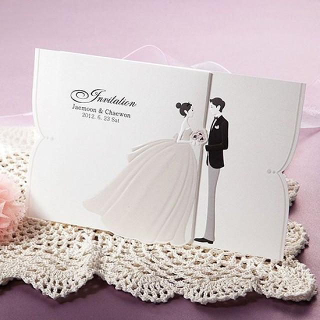 100Kits Lovely Couple Wedding Invitations Cards Envelopes Seals / GA9070 #2160955 - Weddbook