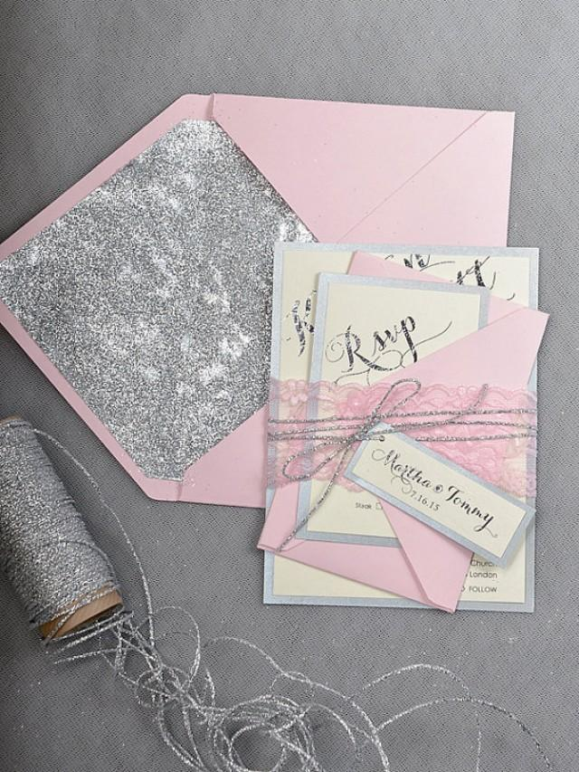 Custom Listing 20 Pink Silver Glitter Wedding Invitation