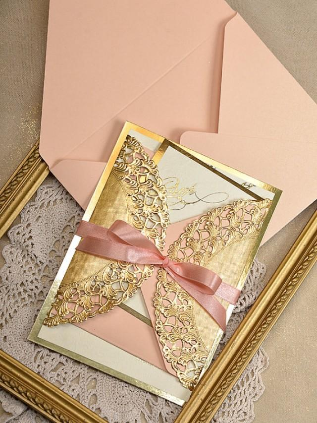Gold And Peach Wedding Invitation - Peach Gold Invitation #2218359 - Weddbook