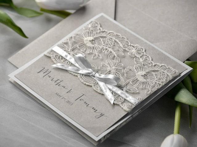 Photo Pocket Wedding Invitations: Eco Lace Wedding Invitation