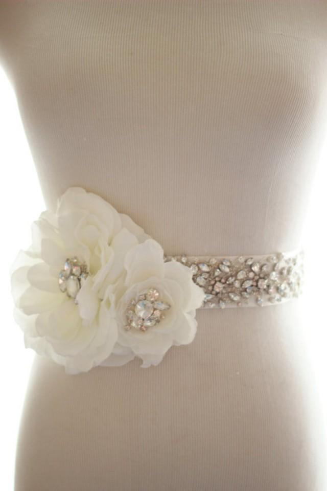 Rhinestone crystal silk flower bridal belt wedding sash for Wedding dress belt sash