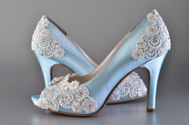 909560e3138 Wedding Shoes - Custom 250 Color Choices- PB525A Vintage Wedding Lace Peep  Toe 3 1 4