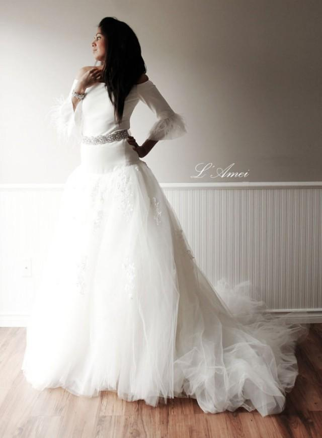 High end long sleeve fitted wedding dress with large skirt for High end wedding dress