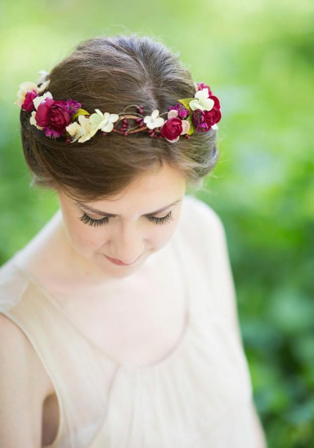 Rustic Wedding Bridal Hair Accessory Floral Headpiece Burgundy Flower Red Hair Accessory