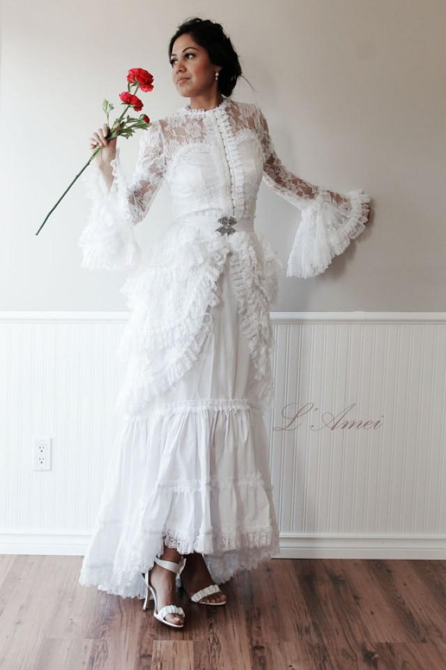 Vintage victorian style white lace wedding gown 2230076 for Victorian style wedding dress