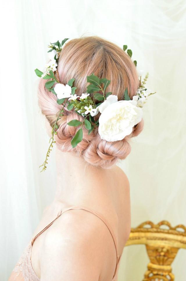 woodland wedding crown leaf and flower crown white floral halo hair wreath circlet hair. Black Bedroom Furniture Sets. Home Design Ideas