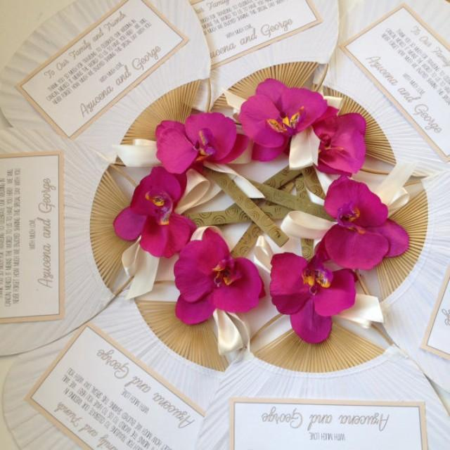 Food favor paddle fan with orchid white paddle fan 2256976 weddbook for Wedding paddle fans