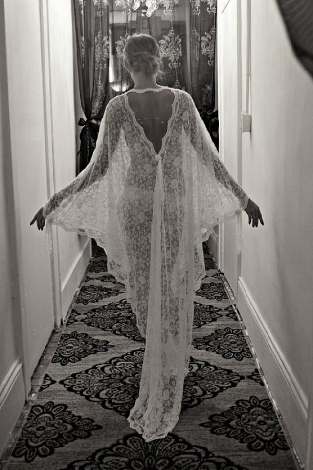 wedding photo - Exclusive Embroidered French Lace Bridal Robe Nightgown