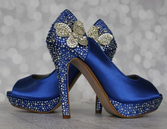 wedding photo - Royal Blue Wedding Shoes with Silver Blue Rhinestones