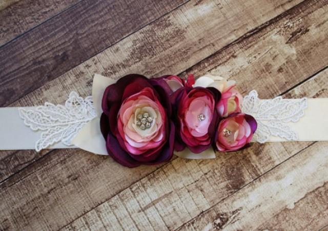 wedding photo - Ivory Bridal Sash with Lace Leaf Accents
