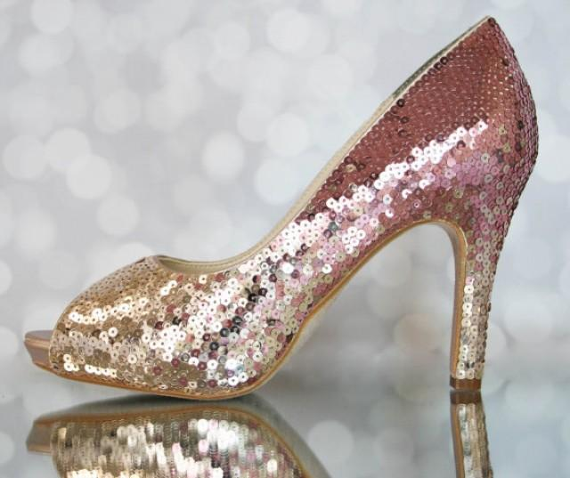 wedding photo - Dazzling Bright Ombre Sequin Bridal Shoes