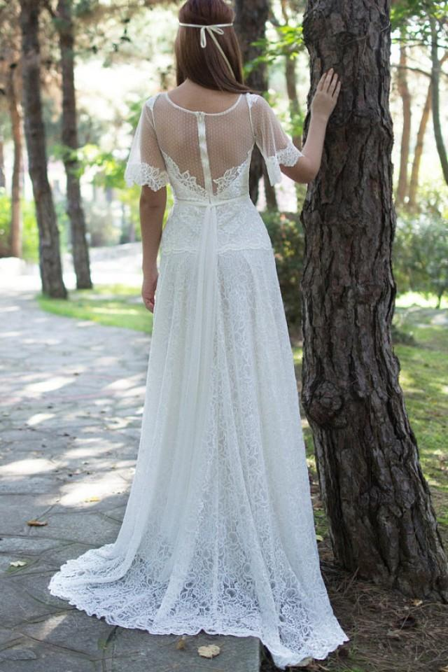 wedding photo - Boho Long gown with white laces