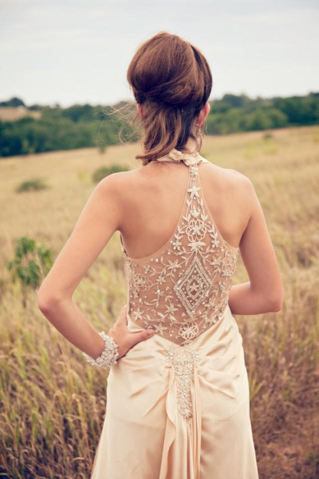 wedding photo - Beaded champagne sleeveless wedding dress