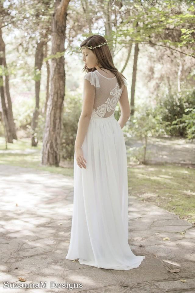 Ivory bohemian wedding dress beautiful lace wedding long for Bohemian wedding dress shops