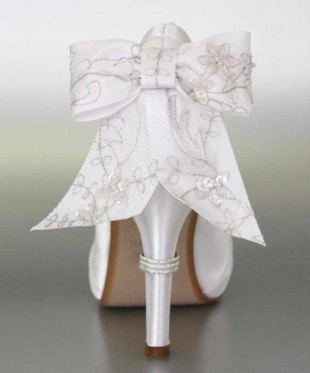 Wedding Shoes White Peep Toe With Silver Lace Overlay Bow On The Back Of Shoe And Ring Accent Heel