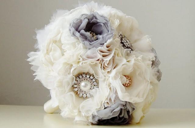 Bridal Bouquet Materials : Fabric wedding bouquet handmade bridal vintage brooch