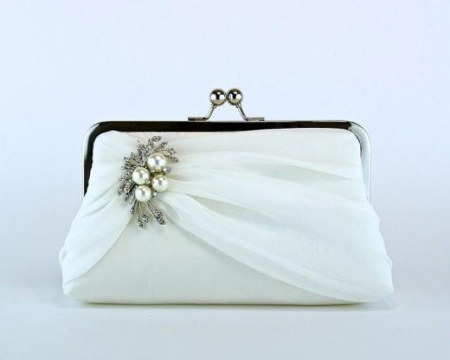 Bridal Clutch Silk Chiffon Clutch With Brooch Wedding Clutch Wedding Bag Purse For Wedding ...