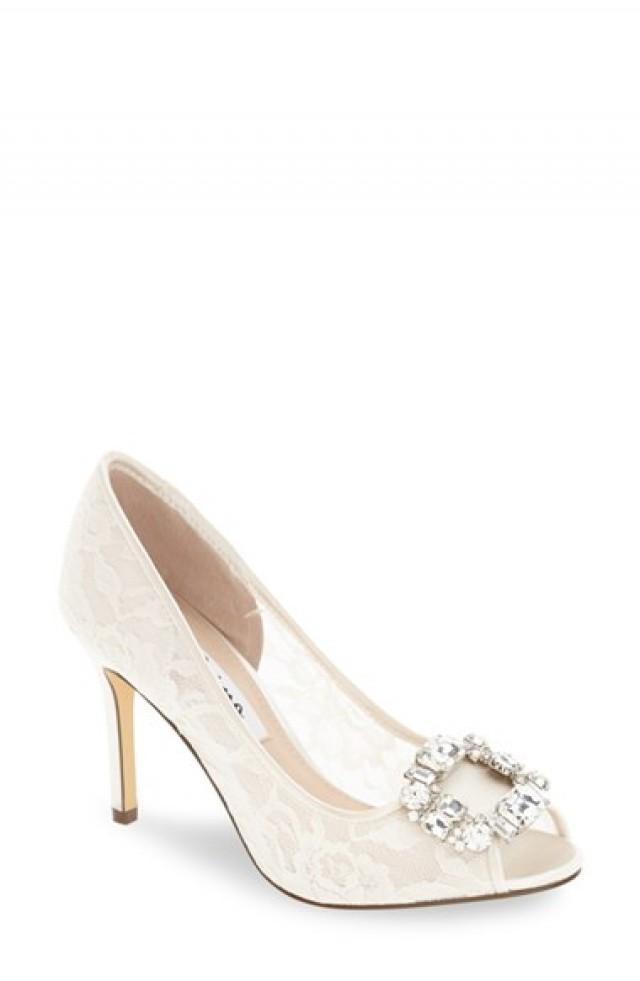 wedding photo - Nina 'Rhodes' Crystal-Embellished Lace Pump (Women)