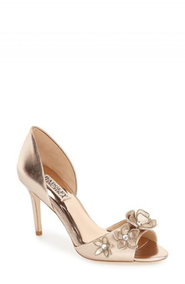 wedding photo - Badgley Mischka 'Larose' Floral Appliqué d'Orsay Pump (Women)