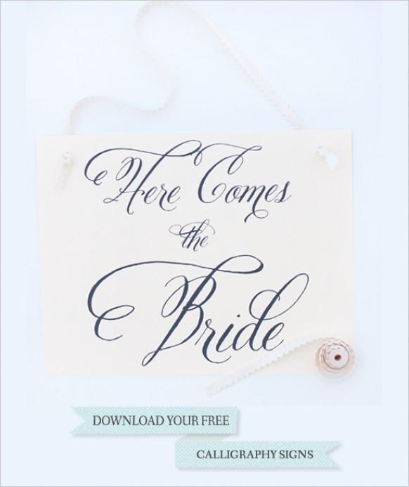 Diy free calligraphy signs  weddbook