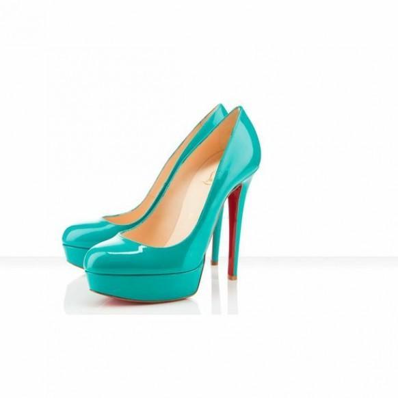 Christian Louboutin Tiffany Blue Soled Bridal Shoes