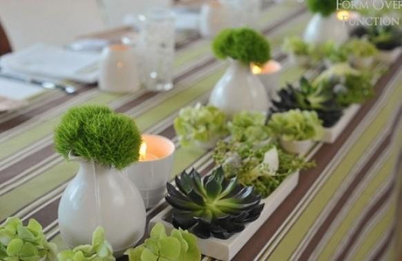 Striped wedding green wedding table decoration ideas for Decoration de table