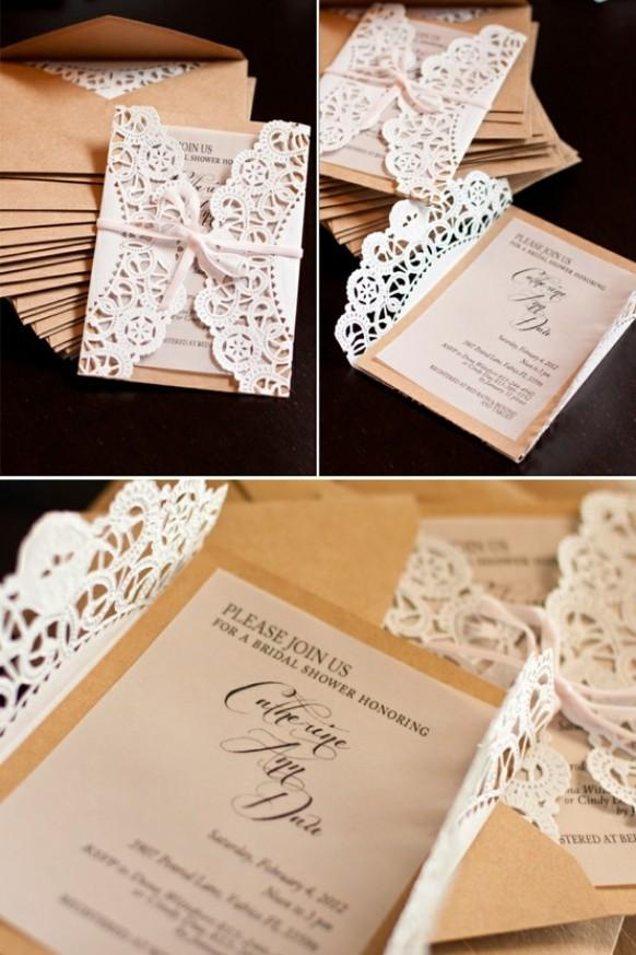 DIY Unique Vintage Wedding Invitations ♥ Lace Wedding Invitation