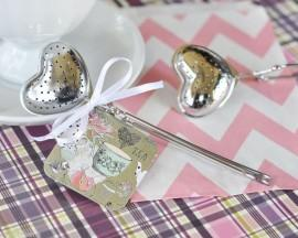 Wedding - 25 Heart Shaped Tea Party Infuser Shower Wedding Favors Can Be Personalized