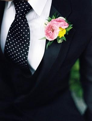 White Polka  Dress on White Polka Dots Tie And Pink Boutonniere Black Groom Suit And White