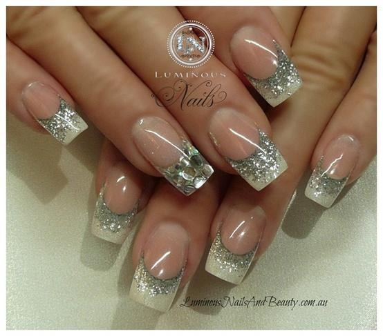 Wedding - Gorgeous Wedding Bridal Nail Art Design With Silver Glitter