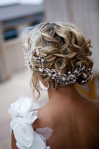 Wedding - Stunning Bridal Updo Hairstyle With Rhinestone Headpieces ...