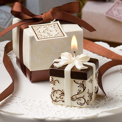 WeddingIvory And Brown Gift Box Collection Candle Favor wedding ...